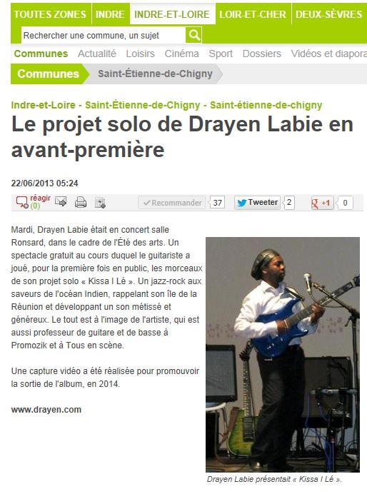 Le projet solo de Drayen Labie en avant première dans la presse.