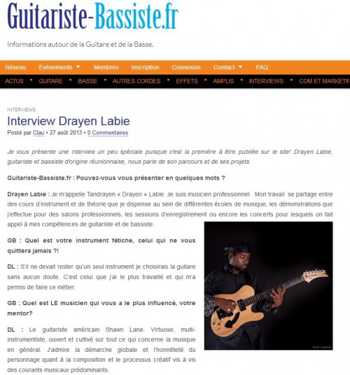 Interview guitariste