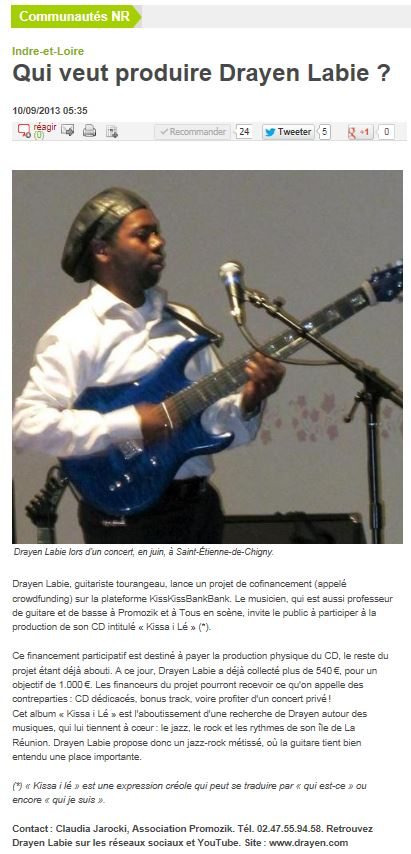 Article de presse guitariste