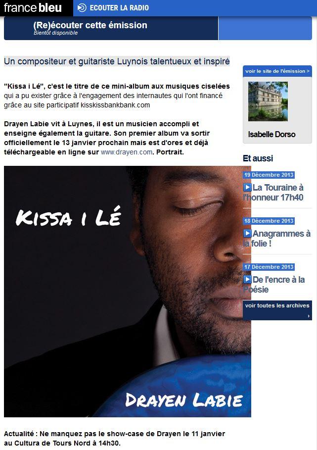 Drayen en interview et en musique sur France Bleu Touraine